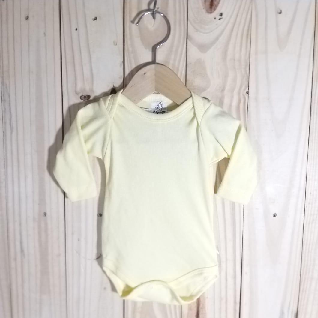 Body para Bebê Canelado  Manga Longa  Amarelo