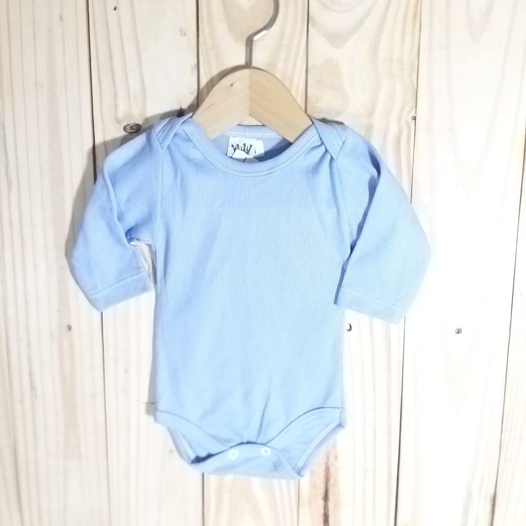 Body para Bebê Canelado  Manga Longa Azul Escuro