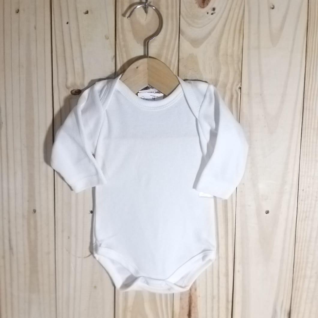 Body para Bebê Canelado Manga Longa Branco