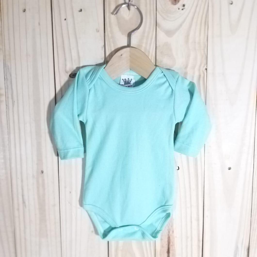 Body para Bebê Canelado 80% algodão  Manga Longa Verde