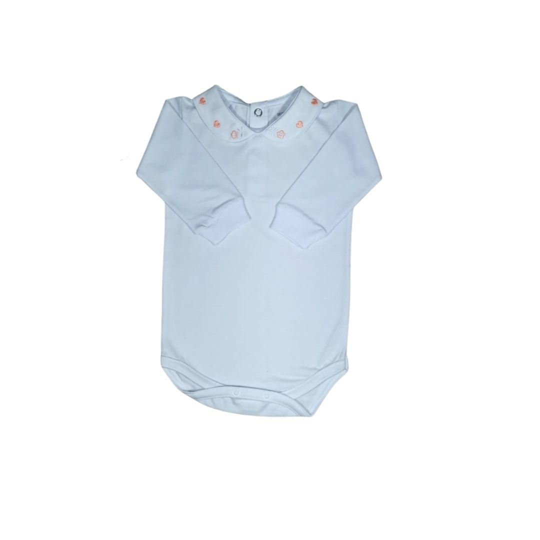 Body para Bebê com Gola Bordada Coração Coral Light