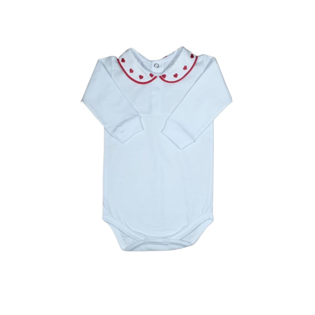 Body para Bebê com Gola Bordada Coração Vermelho