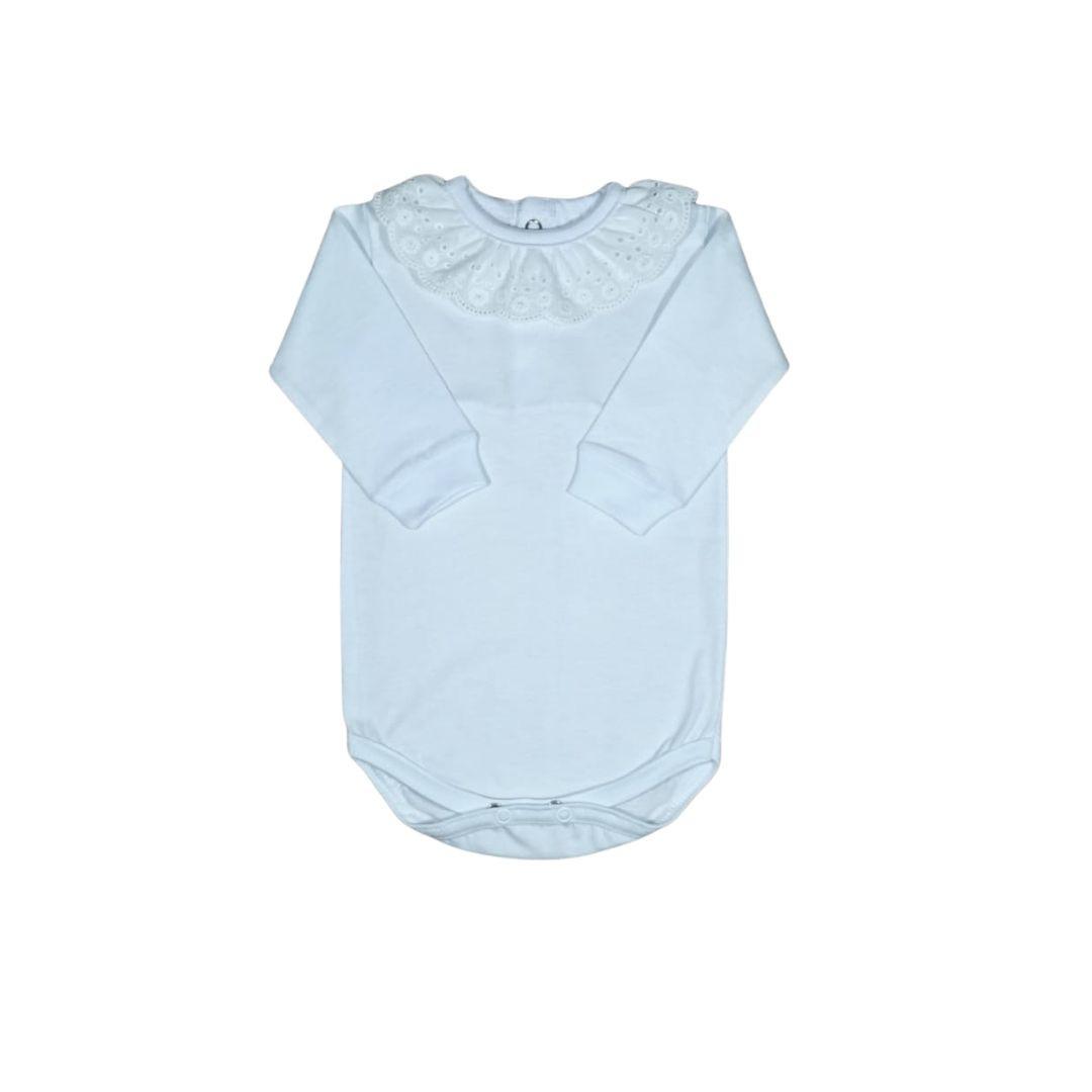Body para Bebê com Gola Bordada Laise Branco