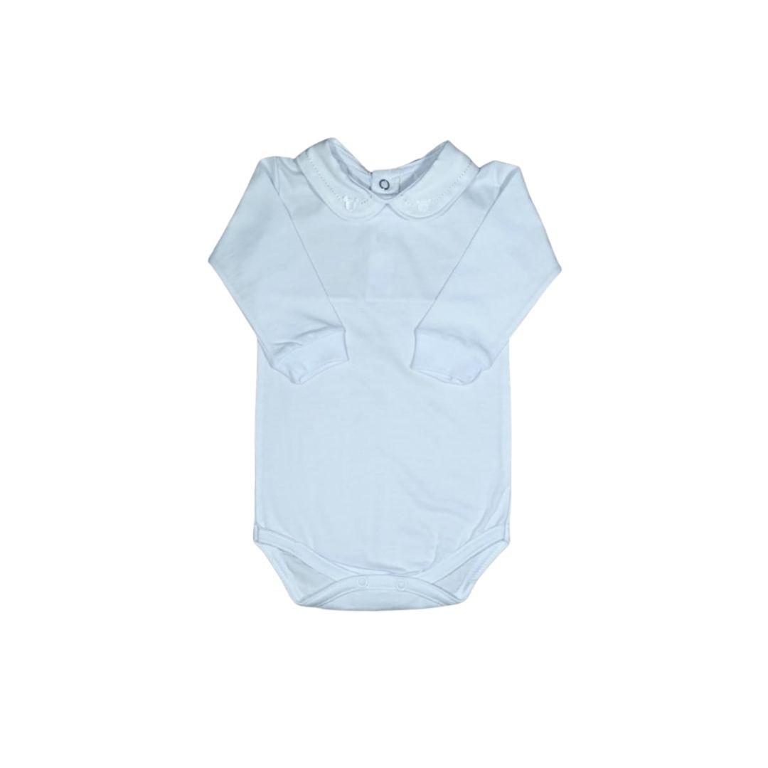Body para Bebê com Gola Bordada Urso Branco