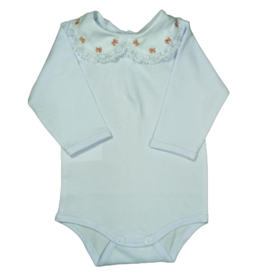 Body para Bebê com Gola Bordada e Renda Laço