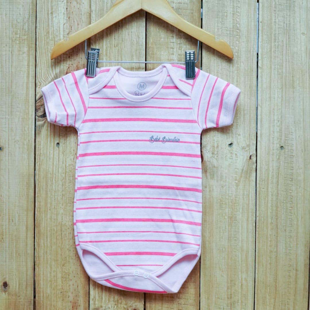 Body para Bebê com Lista Manga Curta