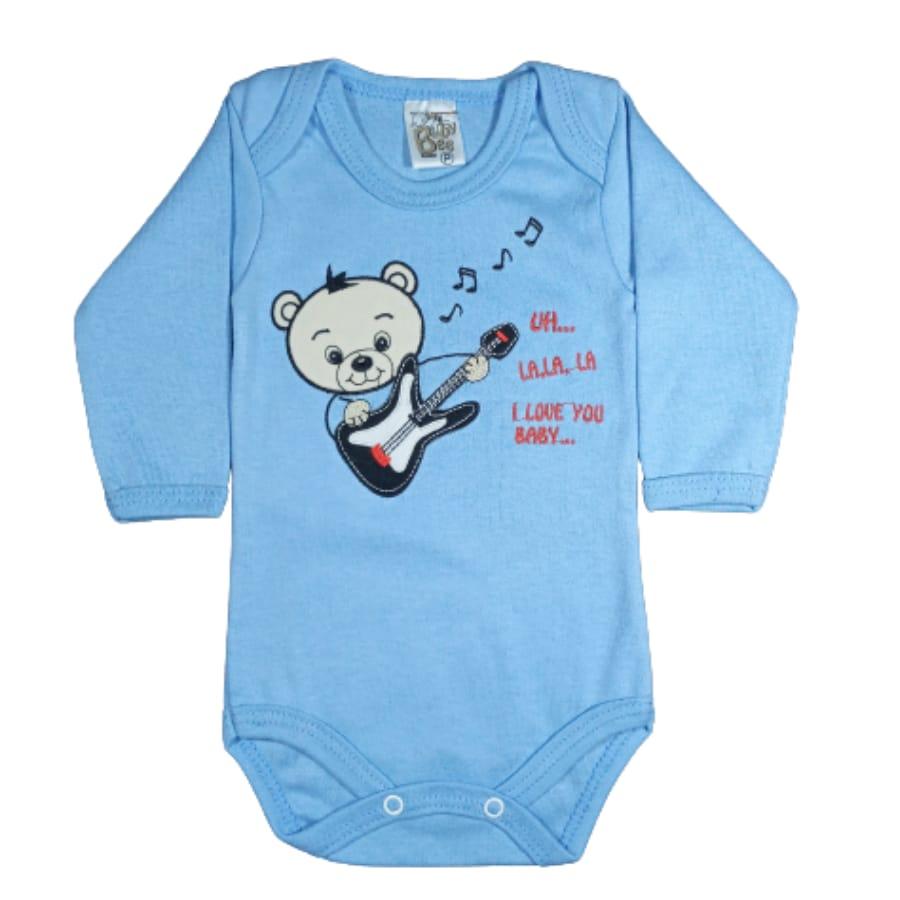 Body para Bebê em Malha Bordado Ursinho com Guitarra