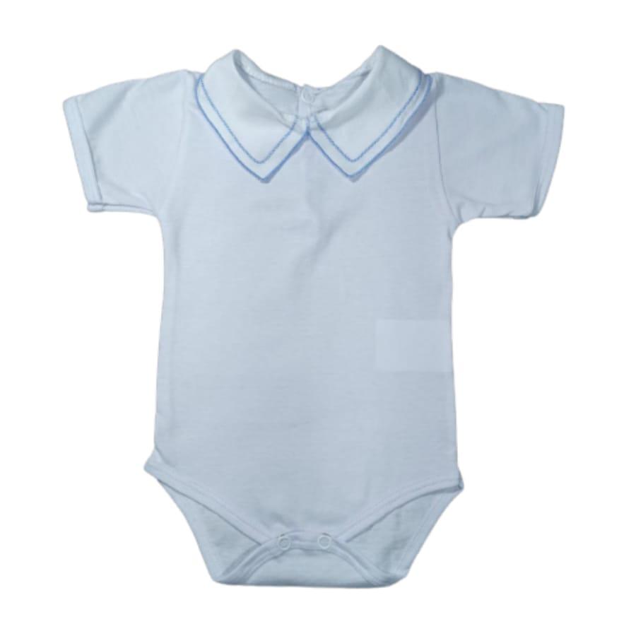 Body para Bebê Gola Bordada Malha 100% Algodão Manga Curta