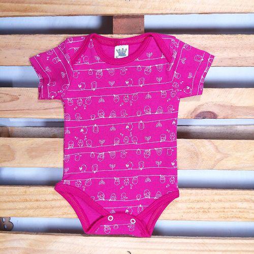 Body para Bebê Estampado Manga Curta para Menina
