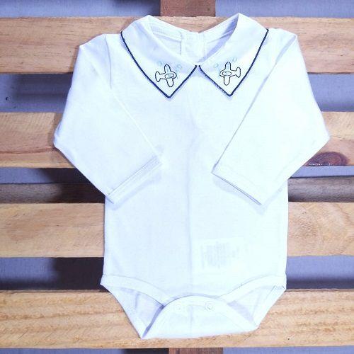 Body para Bebê  Gola Bordada  Aviaõ  Marinho