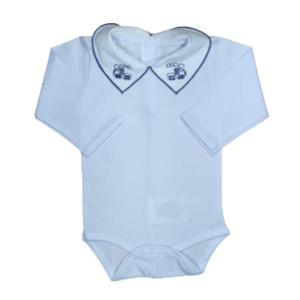 Body para Bebê Gola Bordada Caminhão Azul Marinho