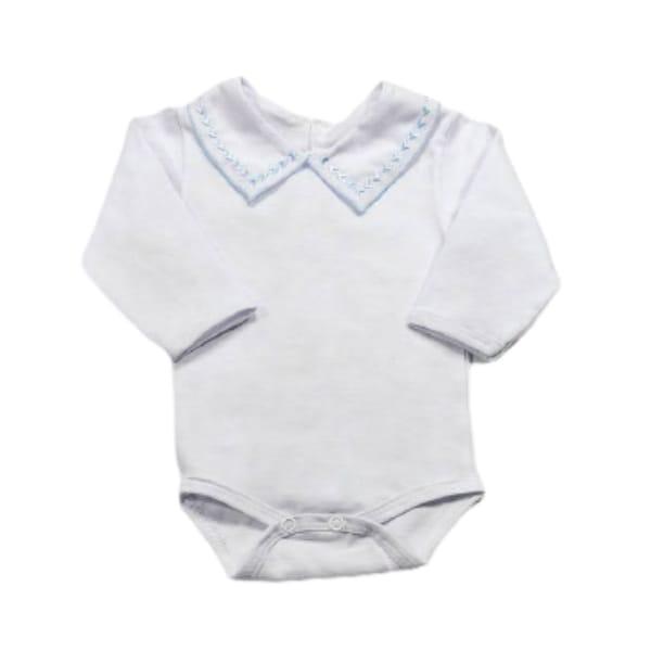 Body para Bebê Gola Bordada Setinhas Azul Claro