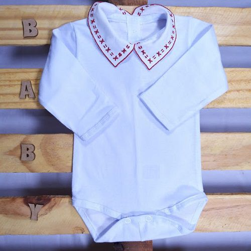 Body para Bebê Gola Bordada