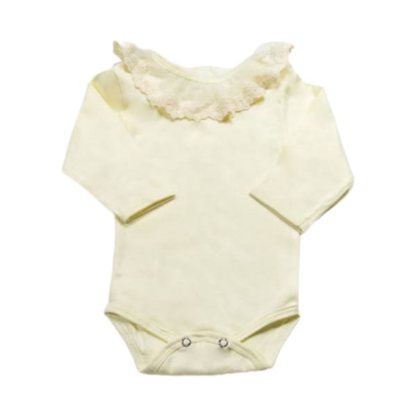 Body para Bebê Gola Bordada com Renda