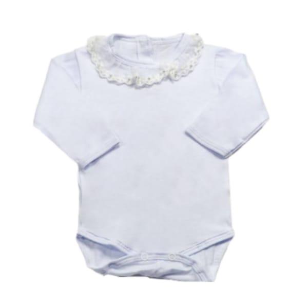 Body para Bebê Gola Bordada com Renda Branco
