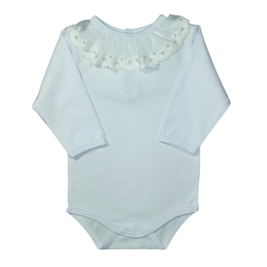 Body para Bebê Gola Bordada com Renda é Pérola Branco