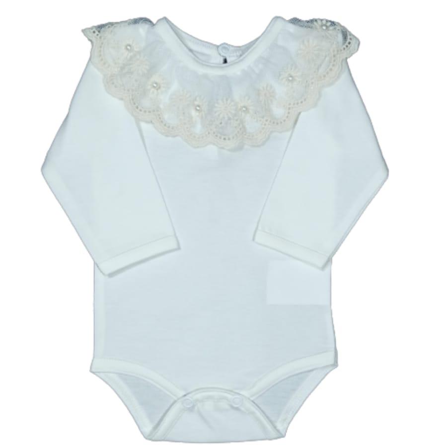 Body para Bebê Gola Bordada com Renda é Pérola Off White