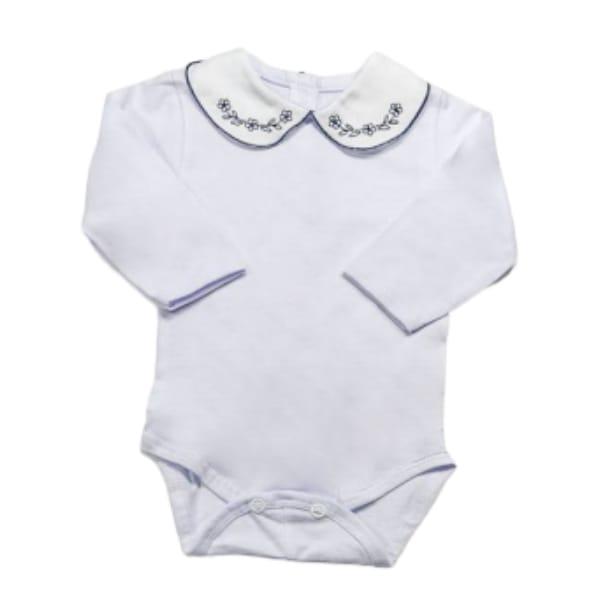 Body para Bebê Gola Bordada Florzinha Azul Marinho