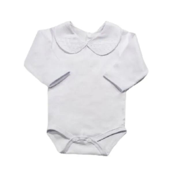 Body para Bebê Gola Bordada Fustão com Bolinhas Branco