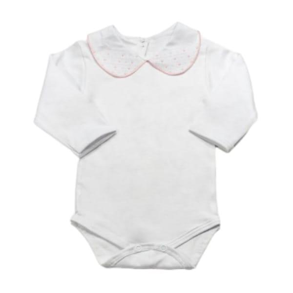 Body para Bebê Gola Bordada Fustão Rosa