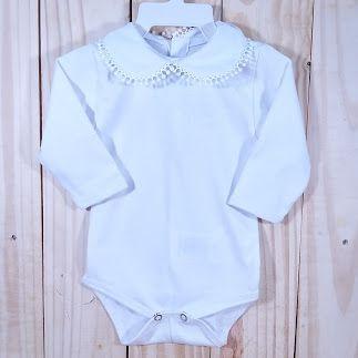 Body  para Bebê  Gola Bordada Gripir Branco