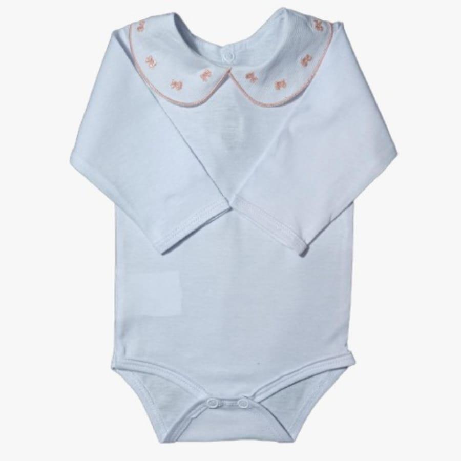 Body para Bebê Gola Bordada Laço Salmão