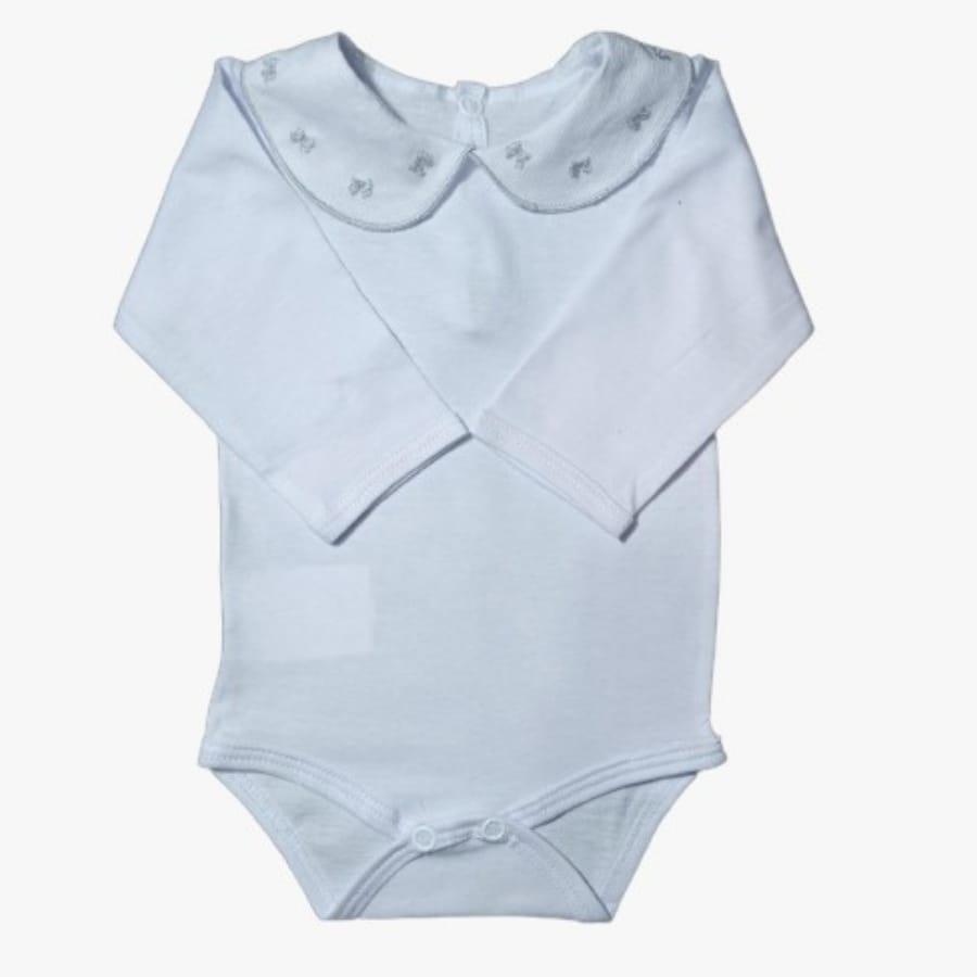 Body para Bebê Gola Bordada Laço Cinza
