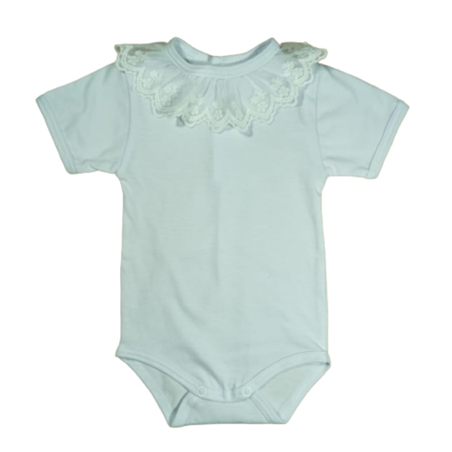 Body para Bebê Gola Bordada e Renda Manga Curta
