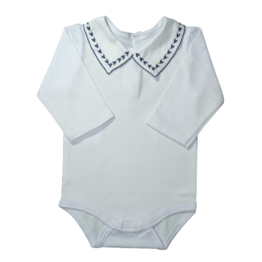 Body para Bebê Gola Bordada Setinhas Azul Marinho