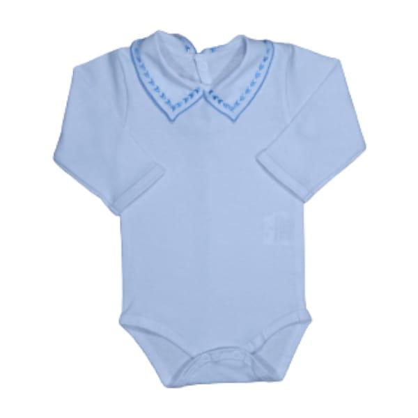 Body para Bebê Gola Bordada Setinhas Azul Royal