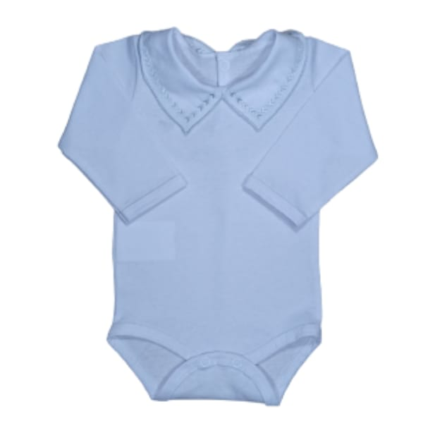 Body para Bebê Gola Bordada Setinhas Prata