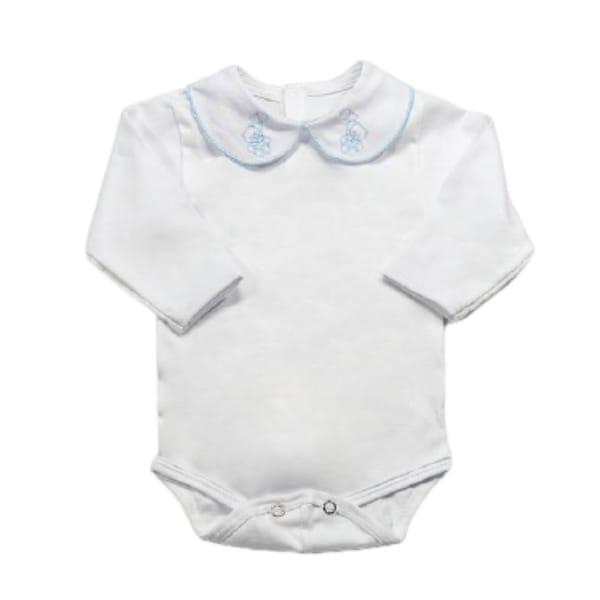 Body para Bebê Gola Bordada Ursinho Azul Claro