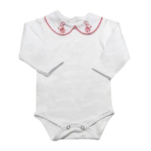 Body para Bebê Gola Bordada Ursinho Vermelho