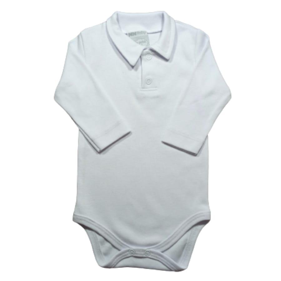 Body para Bebê Suedine Gola Polo Manga Longa