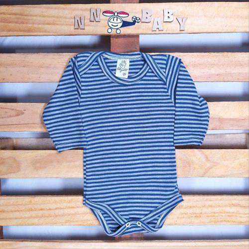 Body para Bebê Listadinho Azul Marinho