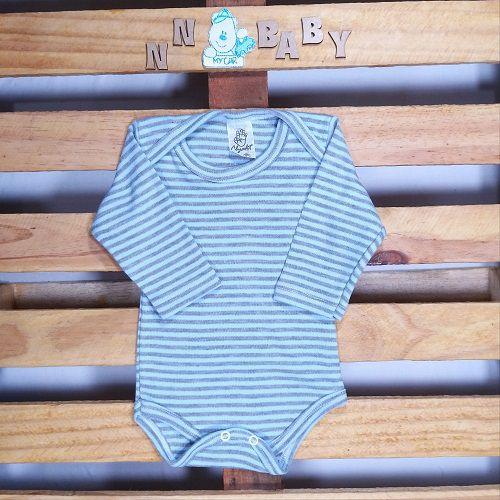 Body para Bebê Listadinho Cinza