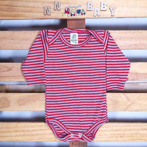 Body para Bebê Listadinho Vermelho