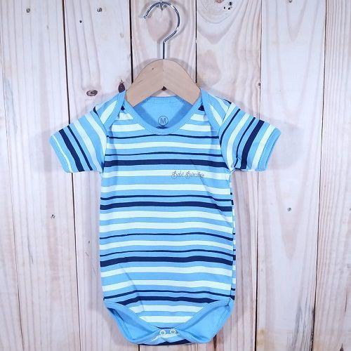 Body para Bebê Listrado Azul Manga Curta.
