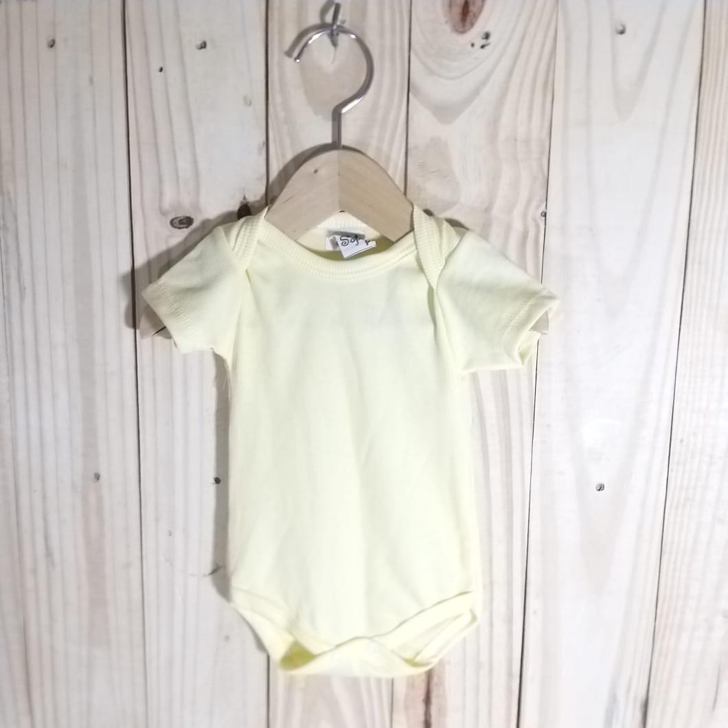 Body para Bebê Manga Curta Amarelo
