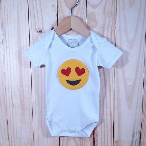 Body para Bebê Manga Curta Branco  Emoji