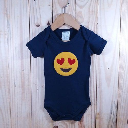 Body para Bebê Manga Curta Marinho  Emoji