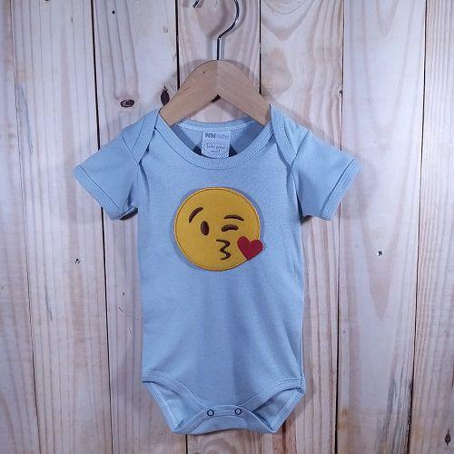 Body para Bebê Manga Curta Prata Emoji