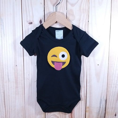Body para Bebê Manga Curta Preto  Emoji