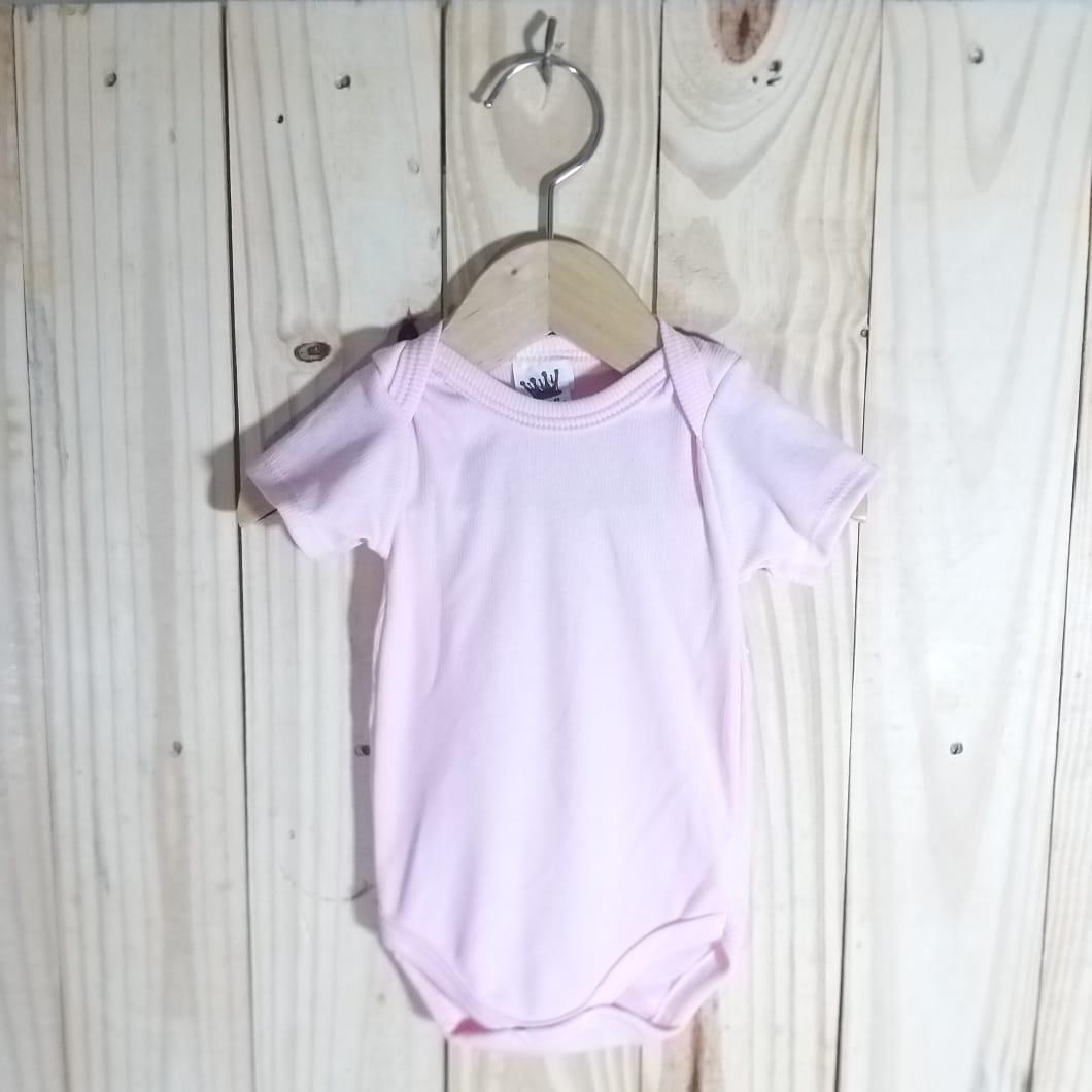 Body para Bebê 80% Algodão Manga Curta  Rosa Claro