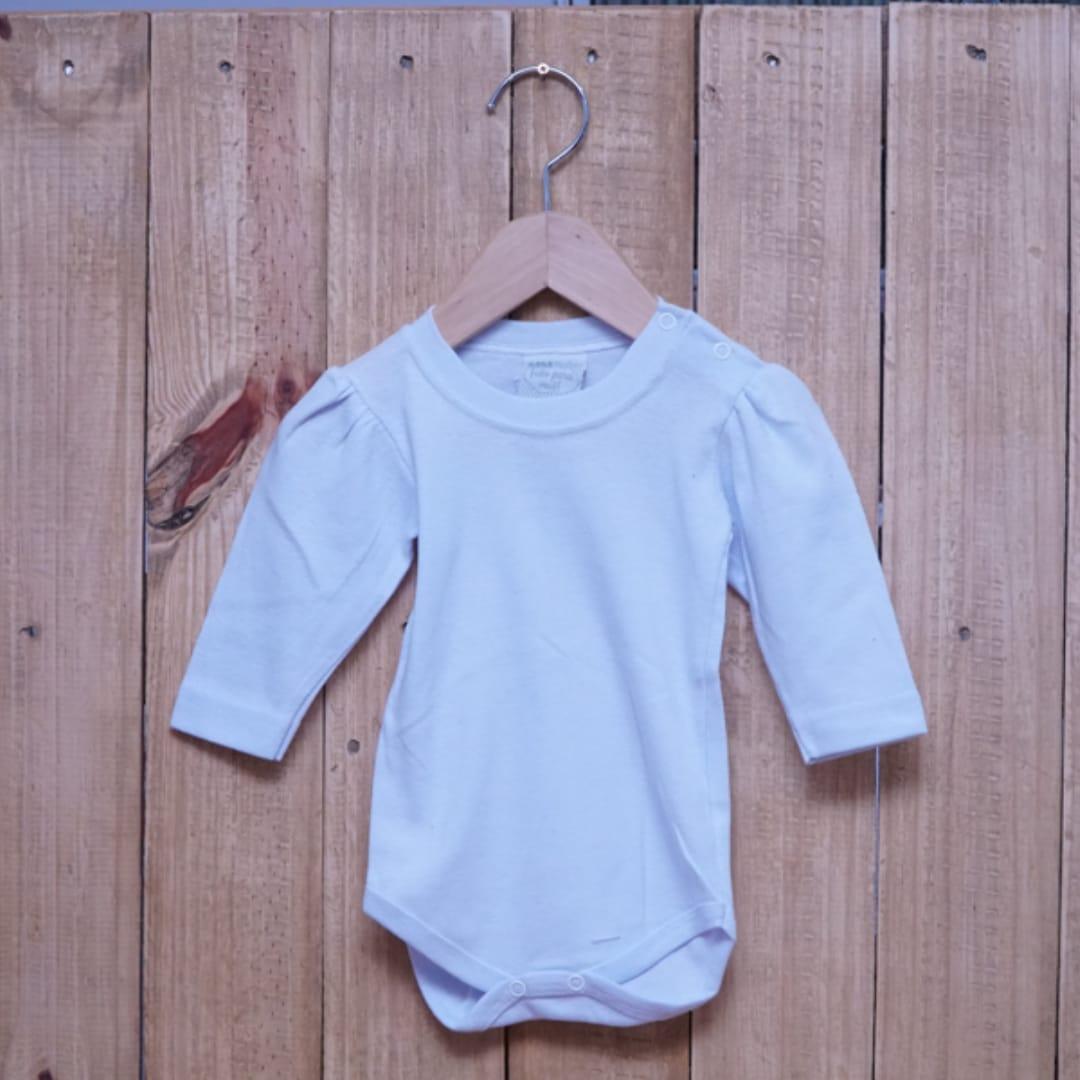 Body para Bebê Manga Longa Bufante Liso em Malha Ribana 100% Algodão Branco