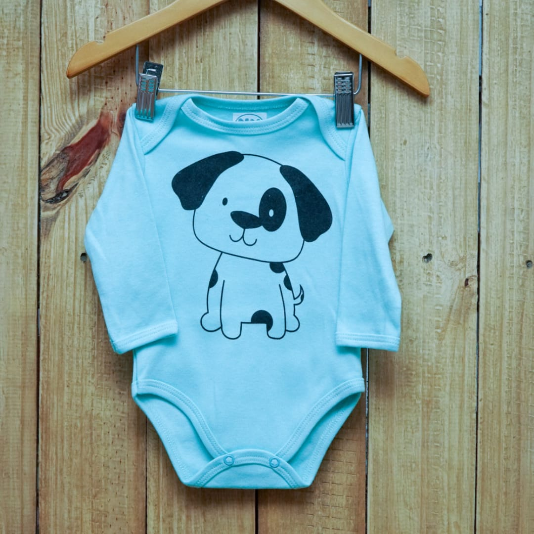 Body para Bebê Manga Longa Estampa Cachorro