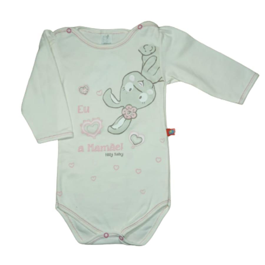 Body para Bebê Manga Longa Estampado Coelha