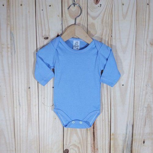 Body Para Bebê Manga Longa Liso Azul Bebê