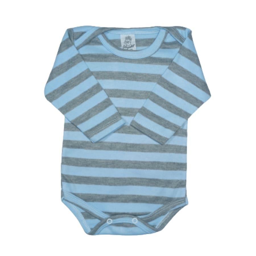 Body para Bebê Manga Longa Listras Larga