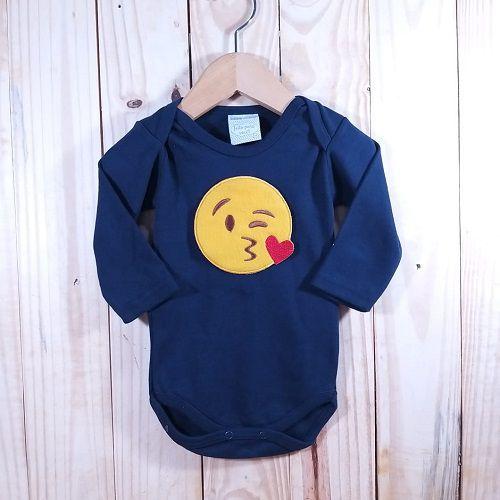 Body para Bebê Manga Longa Preto  Emoji